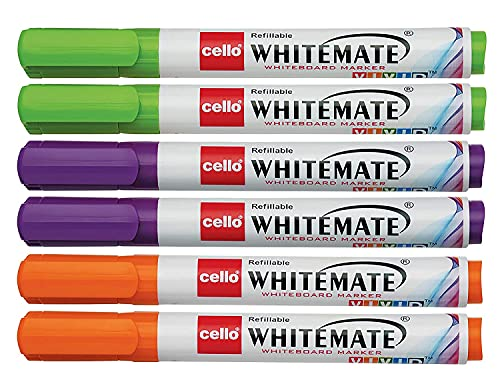 Cello Whitemate Vivid Whiteboard Markers | Set of 6 | Assorted Ink Colours | Whiteboard Marker with Easily Erasable Ink |...