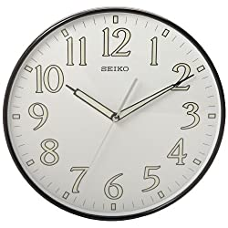 Seiko 12 Black Framed Luminous Numbered Wall Clock
