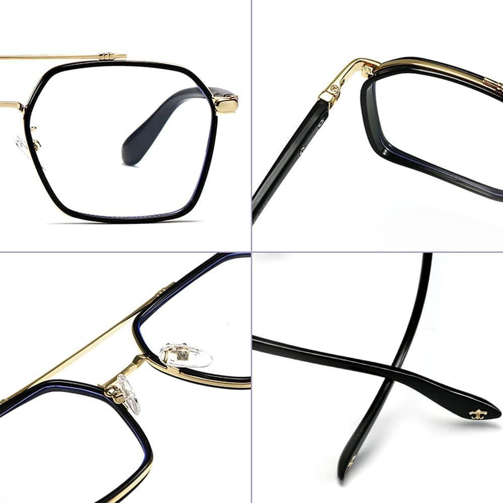 RSHJD Blue Light Blocking Glasses for Women Men Clear Big Box Frame Nerd Eyeglasses Anti Blue Ray Computer Screen Glasses,Green