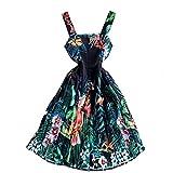 Laura Lily - Nuevo 2021 Vestidos Mujer. Falda Plisada, Vestido de Tejido Encaje, Vestido con Tirantes. Estilo Casual y Elegante, Ideal para Fiestas, Boda, Ceremonia y Playa. (Ella Bosque)