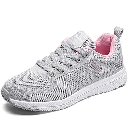 JIANKE Turnschuhe Damen Herren Leichte Laufschuhe Freizeitschuhe Atmungsaktive Sportschuhe Sneakers Grau 35 EU(Etikettengröße 35)