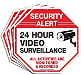 (4 Pack) Security Alert, 24 Hour Video Surveillance, All Activities Monitored Signs,10 x 10 .040 Aluminum Reflective Warning Sign for Home Business CCTV Security Camera, Indoor or Outdoor Use