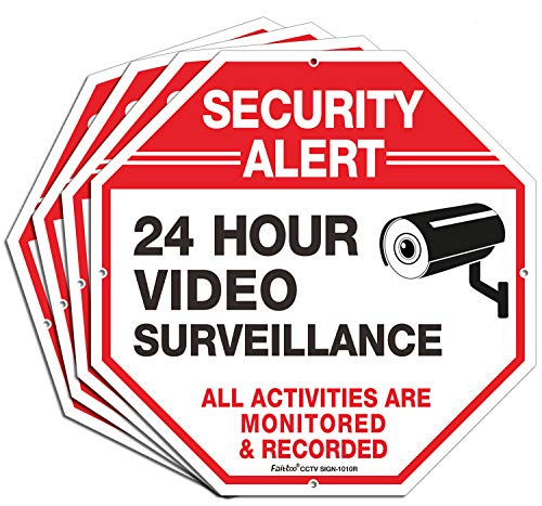 "4 Pack ""Security Alert, 24 Hour Video Surveillance, All Activities Are Monitored "" Signs,10 x 10 .040 Aluminum Reflective Warning Sign for Home Business CCTV Security Camera, Indoor or Outdoor Use"