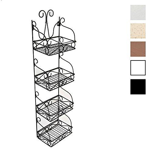 CLP Scaffale Pensile Marta in Metallo – Scaffale in Ferro per Cucina 4 Ripiani – Étagère Espositore da Cucina Shabby Chic - ca.115 x 30 x 20 cm - Scaffale Salvaspazio per Angolo Nero