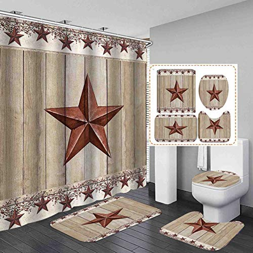 Jayden&Madge 4PCS/SET Vine Star on Rustic Barn Panel Shower Curtain, Vintage Western Farmhouse Rural Bathroom Decor, Waterproof Fabric Bath Curtain, Non-slip Bathroom Mat Toilet Rug Bath Mat, Red Star