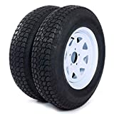 """AutoForever 2pcs Trailer Tires Rims ST205 75D15 F78-15 205 75-15 15"""" 5 Lug 4.5"""" Wheel White Spoke"""