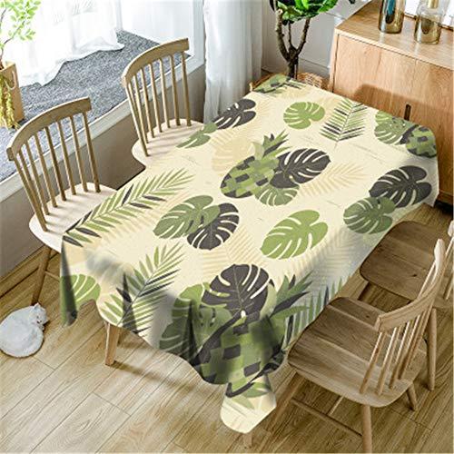 PPTS Idyllic verde fresco plantas mesa de comedor mantel redondo mantel sala de estar cuadrada mesa de café comedor cubierta toalla paño, Piña y hojas, 55.12*55.12in