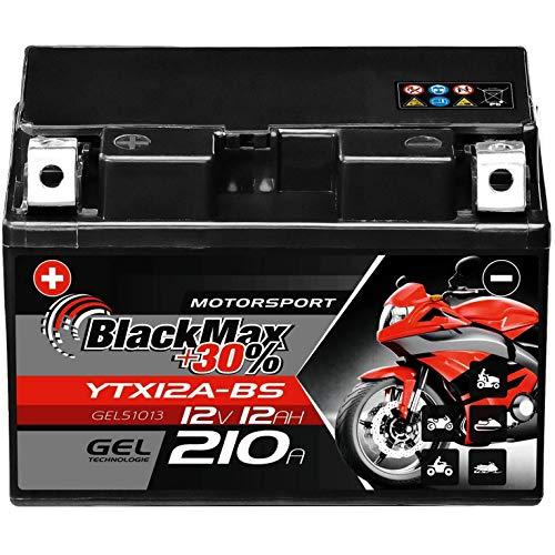 BlackMax YTX12A-BS Motorradbatterie GEL 12V 12Ah 210A 51013 CTX12A-BS YTZ12S GT12A-BS
