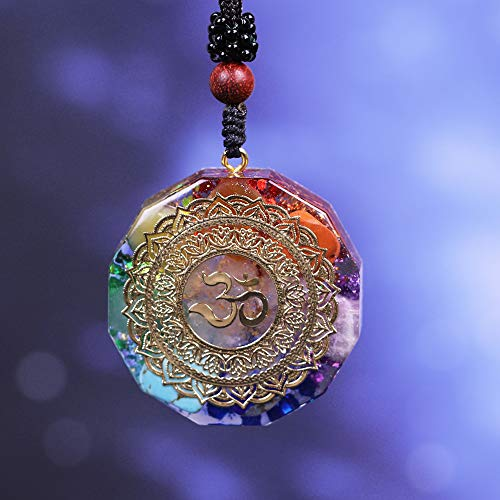 qianyue Orgonite Halskette mit OM-Anhänger, Halskette mit Symbol Chakra Halskette Heilung Energie, Meditations-Schmuck, handgefertigt