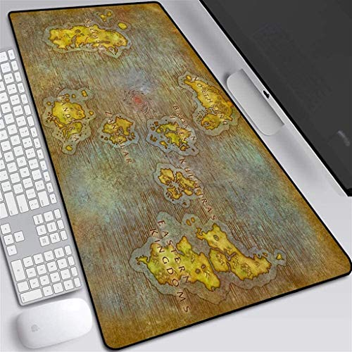 CFTGB Tappetino Mouse Gaming Gaming Mouse Pad World of Warcraft Wow Azeroth Mappa Gioco Grande Mouse Mat Gioco Tastiera Tastiera Mat Cafe Mat esteso Mousepad per Computer Desktop PC Mouse Pad