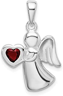 925 Sterling Silver Angel Red Cubic Zirconia Cz Heart Pendant Charm Necklace Religious Fine Jewelry For Women