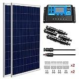 SUNGOLDPOWER - Panel Solar policristalino de 100 W, 12 V, 1 Unidad de Panel Solar policristalino de 100 W de Grado A + 20 A LCD PWM Controlador de Carga Solar + Cables de extensión MC4 + Soportes Z