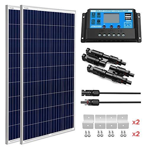 SUNGOLDPOWER Solarpanel Polykristallin Solarmodul 200 Watt 12V:2pcs 100W Polykristallin Solar Panel+20A LCD PWM SolarLaderegler