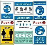 Pack Señales Coronavirus | Pack Especial 7 Carteles | Todo tipo de Establecimientos | Aforo, Mascarilla, Higiene, Distancia. | Carteles Autoinstalables COVID 19 | 21 x 30 cm | Descuentos por Cantidad