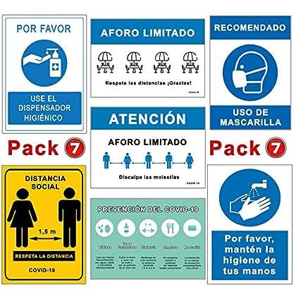 Pack Señales Coronavirus | Pack Especial 7 Carteles | Todo tipo de Establecimientos | Aforo, Mascarilla, Higiene…
