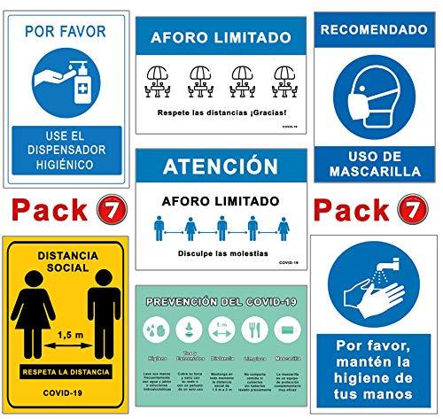 Pack Señales Coronavirus   Pack Especial 7 Carteles   Todo tipo de Establecimientos   Aforo, Mascarilla, Higiene, Distancia.   Carteles Autoinstalables COVID 19   21 x 30 cm   Descuentos por Cantidad
