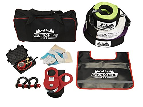 Off-Road Recovery Strap Kit with Snatch Strap, Winch Extension, Snatch Block, Tree Trunk Protector, Shackles, Tire Deflator & More