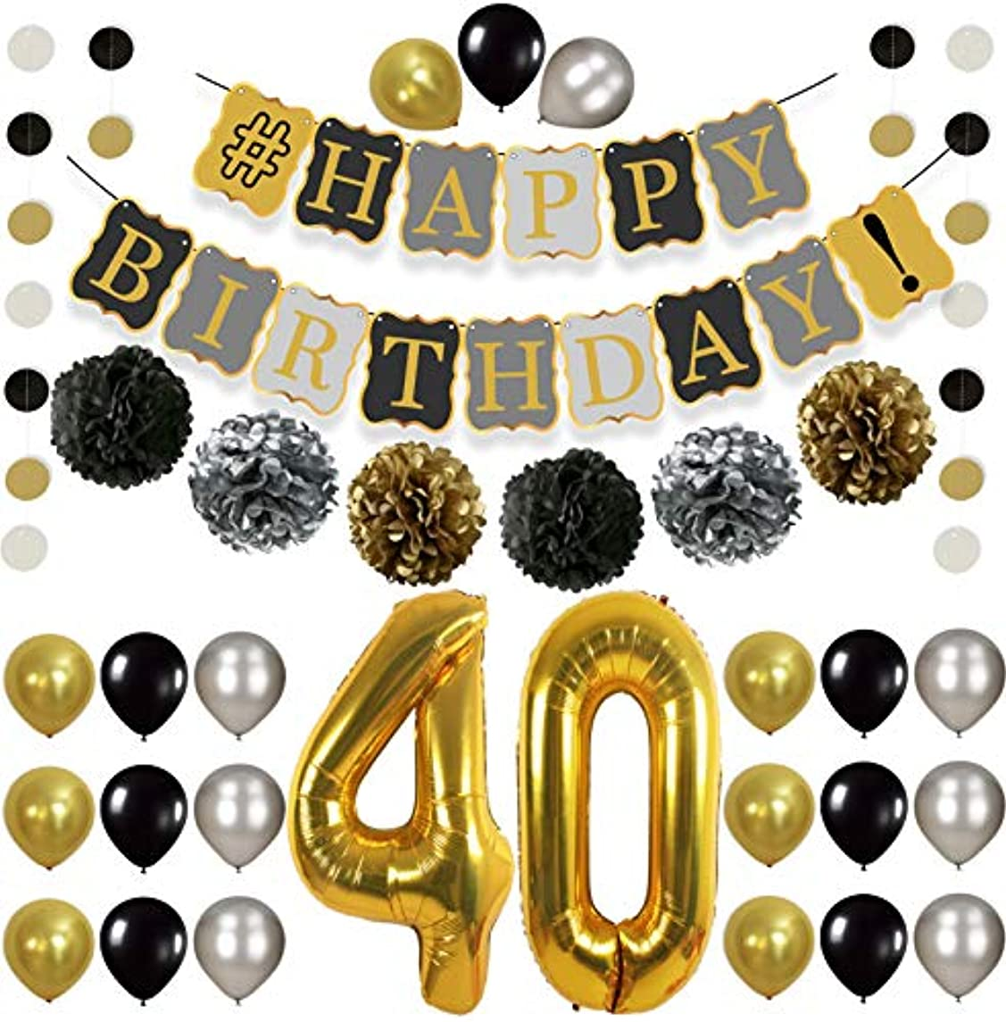 Vintage 40th BIRTHDAY DECORATIONS PARTY KIT -Black Gold and Silver Paper PomPoms   Latex Balloons   Gold Number 40 Ballon   Circle Garland   40th Birthday Balloons 40 Years Old Birthday Party Supplies