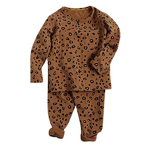 Peuter Kinderen Baby Jongens Meisjes Pyjama Sets, Unisex Kinderen Luipaard Print Slaapkleding Outfits Lange Mouw Top Shirt + Broek Pyjama 2 Stuk Effen Nachtkleding Thuis Ondergoed Pjs Set voor 0-5 Jaar