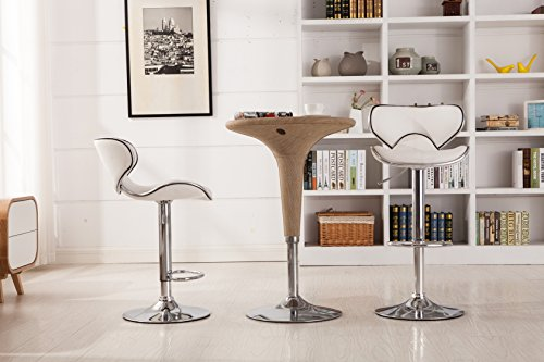 Roundhill Furniture Masaccio Cushioned White Leatherette Upholstery Airlift Swivel Barstool...