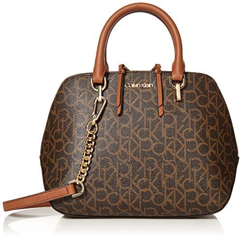 Calvin Klein Hayden Signature Triple Compartment Chain Satchel, Brown/Khaki/Luggage