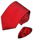 Lorenzo Cana - Marken Krawattenset aus 100% Seide - Krawatte mit Einstecktuch - Rot Kirschrot Weisse Punkte - 8446701
