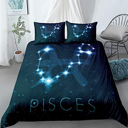 Twelve Constellations - Juego de ropa de cama, diseño de patrón, para dormitorio infantil, microfibra, 1 funda nórdica y 2 fundas de almohada, signos de Zodiac