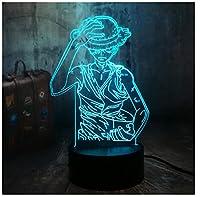 3Dイリュージョンナイトライト アニメ キッズ3D目の錯覚7色LEDナイトライトボーイキッズおもちゃベビースリープデスクランプ寝室の装飾誕生日クリスマスクリエイティビティギフト