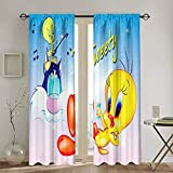 Tweety Bird Window Treatment Curtain (2 Panels Each 52 X 72 in) Punch for Badroom, Living Room