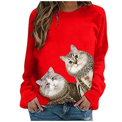 Dosoop Women Long Sleeve Cute Cat Printed O-Neck Tops Sweatshirt Casual Pullover Tunic Shirts Blouse