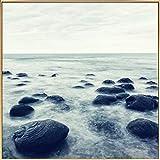 Kunstloft fotografía artística enmarcada 'Rocas Marinas' 80x80cm | fotografía contemporánea Cubierta por Vidrio | mar Piedras Negro Gris | fotografía artística con Marco de Aluminio