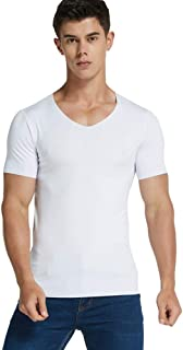 Men Ice Silk Quick Dry T-Shirt Short Sleeve V Neck Solid Color Seamless Breathable Top Sweatshirts