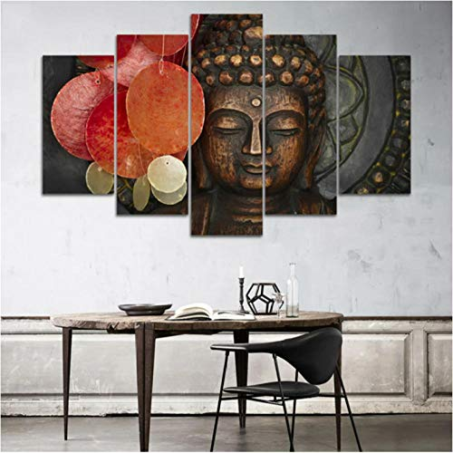 5 Panels Prints Pictures Paintings on Canvas Buddha Wall Art for Living Room Bedroom Home Decorations Large Size Modern Stretched and Framed Canvas Print Landscape Artwork-40 Wx22 H with Frame