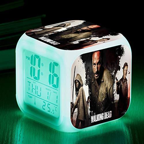TYWFIOAV TV/Movie LED Despertador 7 Colores Intermitente Digital Despertador Despertador Regalo