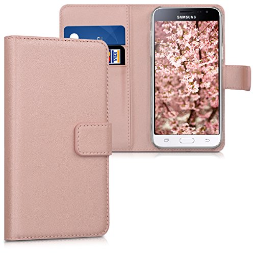 kwmobile Samsung Galaxy J3 (2016) DUOS Hülle - Kunstleder Wallet Case für Samsung Galaxy J3 (2016) DUOS mit Kartenfächern & Stand - Rosegold