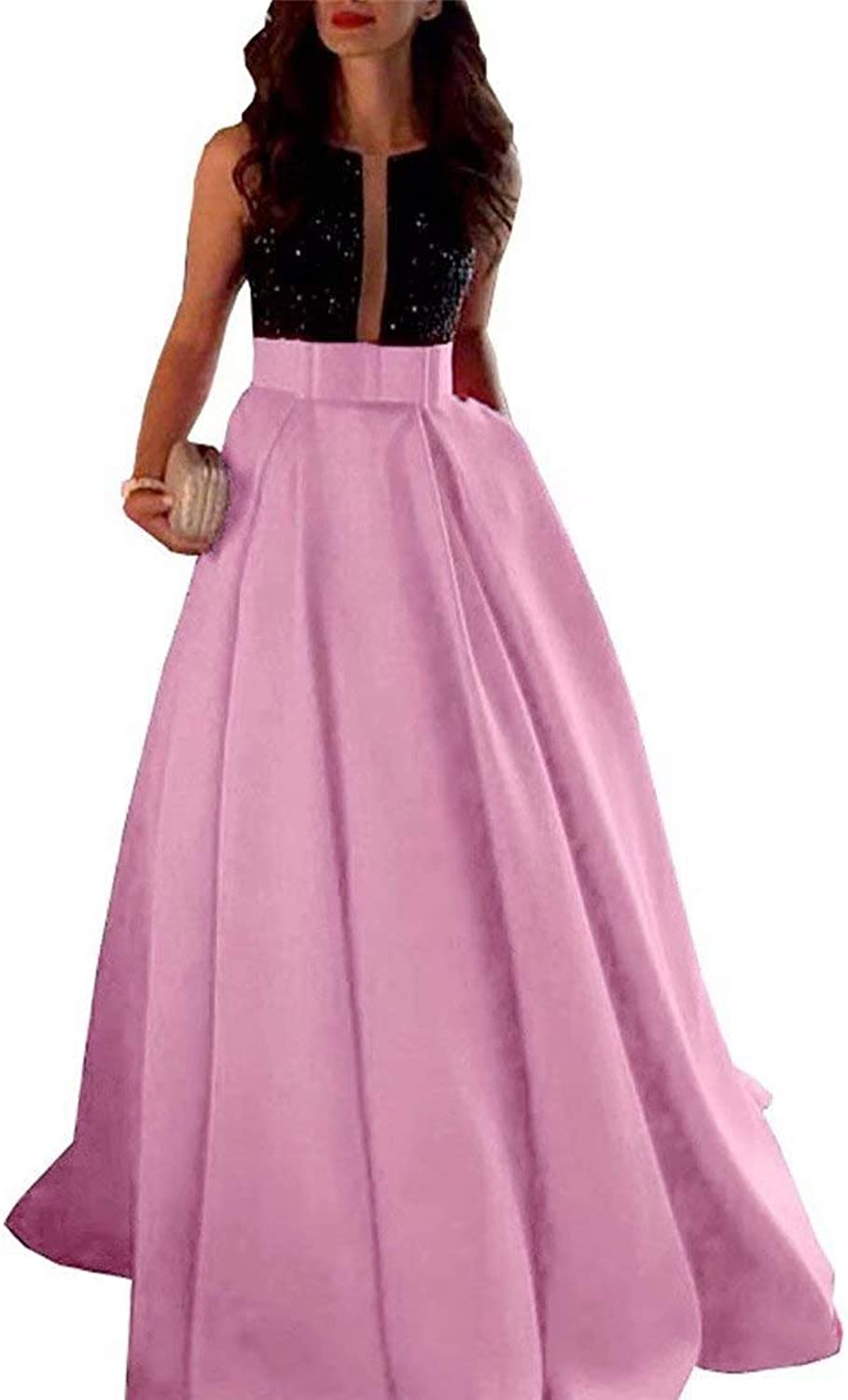 HAiliFier A Line Beaded Satin Prom Party Gown Evening Dress Formal for Women Long