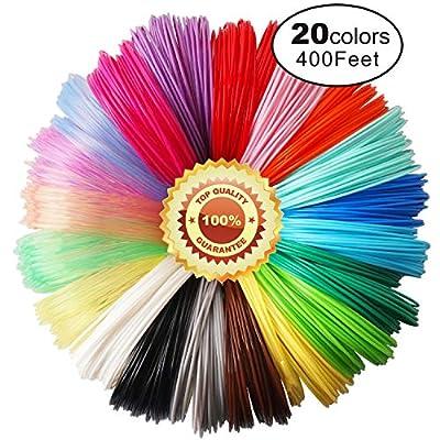 3D Pen PLA Filament Refills, 20 Colors, 20 Feet Each Color, Total 400 Feet by TTYT3D