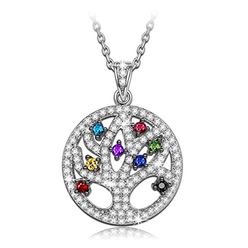 NINAQUEEN Christmas Charms Gifts Tree of Life 925 Sterling Silver Pendant Necklace with Cubic-zirconia Jewelry for Women