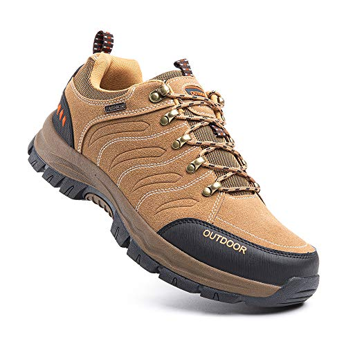 Hitmars Chaussure Randonnee Hommes Antidérapants Chaussure de Marche Respirant Bottes Trekking Basses de Plein Air 2 Marron Taille 43 EU