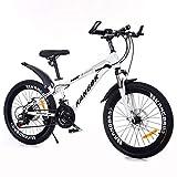 GZMUK Bicicleta De Montaña MTB 20,22,24,26 Pulgadas Bicicleta Infantil,7 Velocidades Y Frenos De Disco,Viene con Bolsa, Botella De Agua, Canasta,White 2,24 in