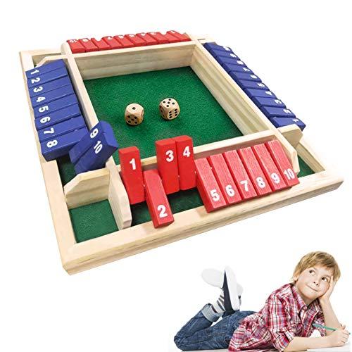 4 Spieler Digital Flop Game,Holz Tisch Spiel Klassisch,Spieler Shut The Box,Holz Brettspiel ,holz brettspiel mathe,Holz Tisch Spiel Würfelspiel,Holz Brettspiel,Schließen Sie Die Box (Rot Blau)