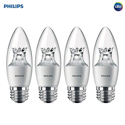 Philips LED Dimmable B12 Clear Light Bulb with Warm Glow Effect: 500-Lumen, 2700-2200-Kelvin, 7-Watt (60-Watt Equivalent), E12 Candelabra Base, Soft White, 10-Pack