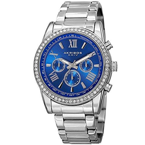 Akribos XXIV Enterprise Mens Casual Watch - Sunburst Effect Dial - Quartz Movement - Diamond - Stainless Steel Strap - Blue Silver