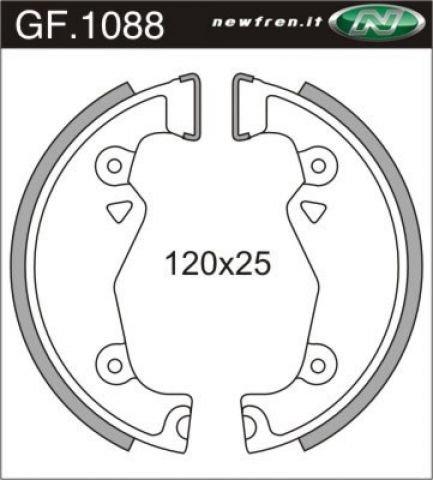 Bremsbacken 120 x 25 mm NewFren Typ GF.1088 (1 Satz a 2 Stück) für Zündapp Falconette 435, Super Combinette 429, 433, KS 50 / 75 500