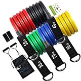 TWING Resistance Bands Set 150 LBS, 11 Pack Exercise Bands with Door Anchor Handles Home Workouts Resistance Bands Anchor Fitness Resistance Bands for Man Training