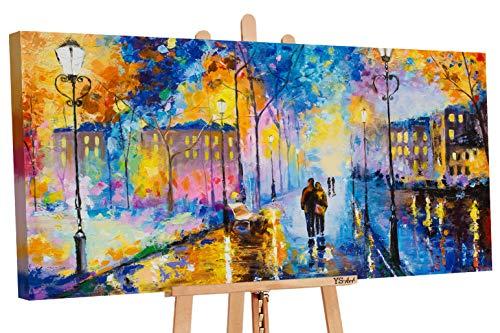 YS-Art | Acryl Gemälde Romantischer Abend | Handgemalte Leinwand Bilder | 130x70cm | Wandbild Acrylgemälde | Moderne Kunst | Leinwand | Unikat | Blau