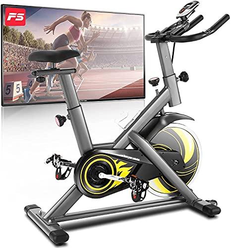 ANCHEER Bicicleta de Spinning Bicicleta Estática de Ejercicio Hogar , Volante deInercia de 18 kg, Conexion con APP Pantalla LCD, Sensor de Impulsos, Manillar Sillín Ajustables, Carga Máxima: 120 kg ✅