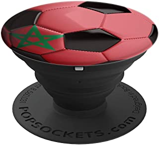 Morocco Flag Football Soccer Ball  PopSockets Grip and Stand for Phones and Tablets