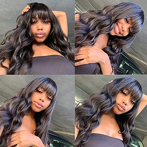 Loose Deep Wave Human Hair Wigs with Bangs 150% Density Jaja Hair Brazilian Virgin for Black Women None Lace Front Wigs Machine Made Curly Wavy Wigs Pre Plucked Natural Color 12 Inch