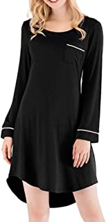Women's Nightdress, Loose Long-Sleeved Robe, Simple Round Neck Gown, mid-Length Pullover Pajamas, Casual Home wear, Soft and Comfortable (Color : Black, Size : S)